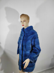 Real Mink Fur Blue Thick Coat - Handmade Warm And Comfortable Genuine Fur Long Xl