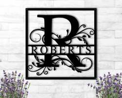 Personalized Last Name Family Sign Black Metal Wall Art Plaque