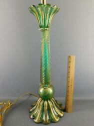 Mid-century Modern Barovier And Toso Green And Gold Murano Glass Banquet Table Lamp