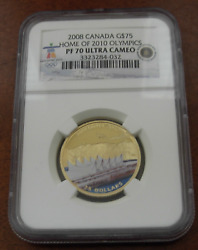 Canada 2008 Gold 75 Ngc Pf70uc Home Of 2010 Vancouver Olympics Colorized
