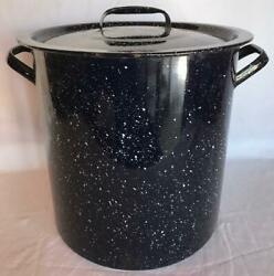 Tall Dark Blue Speckle Enamelware Agate Stock Pot Canner Farmhouse Kitchen