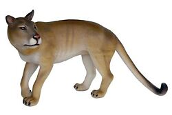 Brown Realistic Walking Cougar Life Size Statue