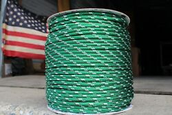 New England Sta-set Halyard Sheet Line Dacron Sail Rope 1/4 X 33and039 Green/white