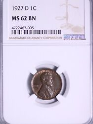 1927-d Lincoln Wheat Cent Penny Ngc Ms62 Bn Free Shipping Umm 1