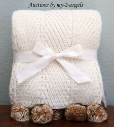 New Pottery Barn Faux Fur Pom Pom Knitted Throw Blanket Ivory