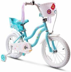 Coewske Kidand039s Bike Steel Frame Children Bicycle Little Princess 14 Inch Blue