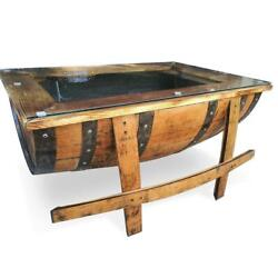 Handcrafted Whiskey Barrel Coffee Table - Glass Top - Repurposed Rustic
