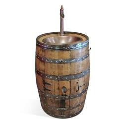 Handcrafted Whiskey Barrel Vanity - Natural Stain Copper Sink 13 Faucet
