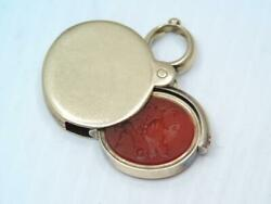 Rare Victorian 14k Gold Intaglio Wax Seal Stamp Watch Fob Double Sided Pendant