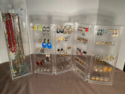 Vintage Lot 60 Pairs Pierced Earrings, 15 Necklaces Including Acrylic Displays