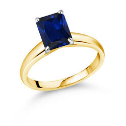 2.70 Ct Blue Created Sapphire 10k Yellow Gold Ring With White Gold Prongs Ring