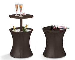Beverage Cooler And Side Table Patio Party Poolside 4 Colors 1 Brown Rattan