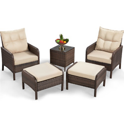 5-piece Brown Rattan Patio Set 2 Chairs 2 Ottomans End Table Beige Cushions