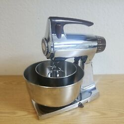Vintage Sunbeam Mixmaster 12 Speed Mixer Brown And Chrome W/ss Bowls And Beaters