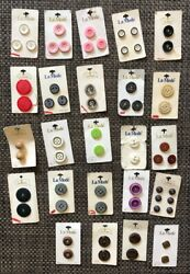 Vintage Le Mode Buttons On Card 24 Cards