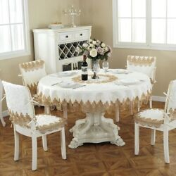 Tablecloth Pastoral Dining Table Turntable Household Lace Without Chair Cover