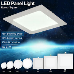 4w 9w 12w 24w Flat Concealed Ceiling Bulb Led Panel Lights Kit Round/square 6fe