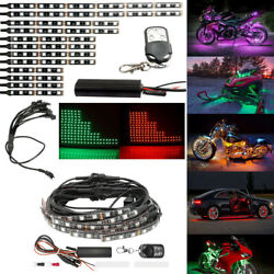 12x Motorcycle Led Lights Wireless Remote 18 Color Neon Glow Light Strips Kit