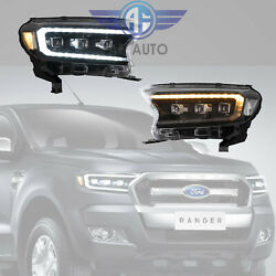 2x Led Headlights Front Lamp Assembly For Ford Ranger 2015-2020 Hi And Lo Beam