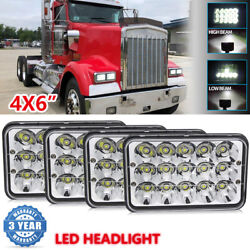 4pc 4x6 Led Rectangle Headlights Hi/lo For Kenworth T800 T400 W900 T600a Truck