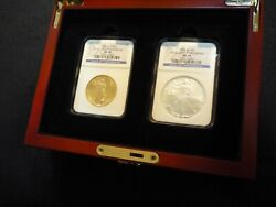2006-w American Eagle Burn 2-coin Set - 20th Anniversary Gold And Silver Ngc Ms69