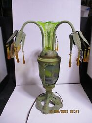 Antique Art Deco Vaseline Epergne Swag Arm Reverse Painted Table Lamp