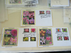 Three Garden Party Flowers Combo Stamp 2021 Fdcs Sc5558-5567 Colorano Cachets