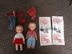 Vintage Lot Of 2 Campbell's Soup Kid Dolls In Original Clothing Ideal Dol Toy