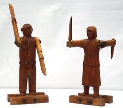Great Pair Of Carved Man And Woman With Jointed Arms Blades. Whirligig Figures.