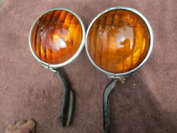 1930and039s Pair Of 6 Inch Cats-eye Script Auxiliary Lamps