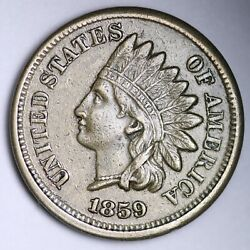 1859 Indian Head Small Cent Choice Au Free Shipping E108 Xbz