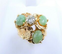 14k Yellow Gold Nugget 1/2ct Diamond And Jade Cabochon Branch Ring, Sz 7.5
