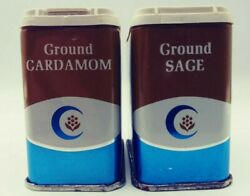 Lot Of 2 Vintage Crescent Spice Tin Can 1974 Mid Century Modern Sage Cardamom