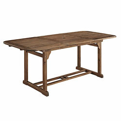 Walker Edison Maui Modern Solid Acacia Wood Slatted Patio Dining Table, 78 In...