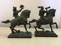 Antique Colonial Figurine Brass Bookends Maiden On Horse And Man On Horse