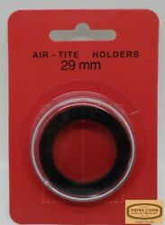 10 X 29mm Airtite Coin Holder Capsule Black Ring - Large Cent - 38980