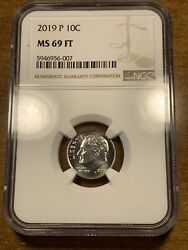 2019-p 10c Roosevelt Dime Ngc Ms69ft Full Torch