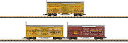 Lgb G Scale 40ft. Livestock/stock Cars Union Pacific/up 3-pack 2-gold/1 Brown