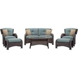 Hanover Strathmere 6-piece Outdoor Patio Conversation Set 2 Side Chairs With...