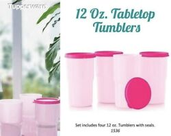 Tupperware Tumblers Set Of 4 - 12oz Tumbler Set W/ Seals Pink New