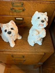 Vintage Set Of Two Cute White Stone Westie Dog Statues With Free Shipping