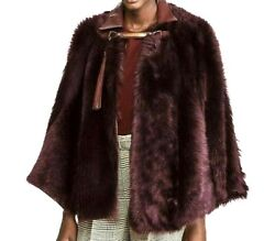 New Purple Label Collection Shearling Leather Cape Jacket 4 6 Small