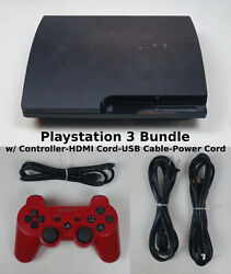 Sony Playstation 3 Ps3 320gb Video Game Console Red Controller And Cords Bundle