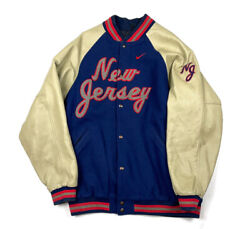 Vtg Nike Team New Jersey Nets Leather Wool Varsity Jacket Embroidered Men's Xl