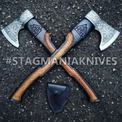 Pack Of 2 Hand Forged Carbon Steel Tomahawk, Hatchet, Axe,integral Viking