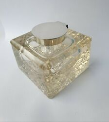 Antique Solid Silver Cut Glass William Hutton Ink Bottle Inkwell Band039ham 1928