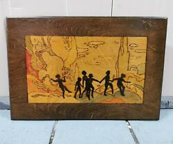 Antique Burnt Wood Pyrography Picture Plaque Of Playing Children Art Deco Design