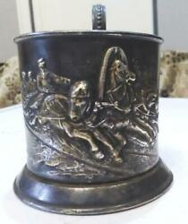 Antique Ussr Cup Holder Silver Plating Winter Troika Stamp -am-mstera