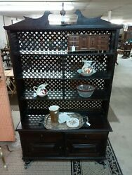 Large Step Back Cupboard Cabinet Duck Theme Painted Black With Lattice Back