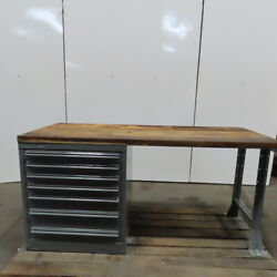 Wood Top 7 Drawer Small Parts Storage Work Station Bench 30dx72wx35h
